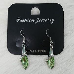 Peridot Green Gemstone Birthstone Dangle Earrings